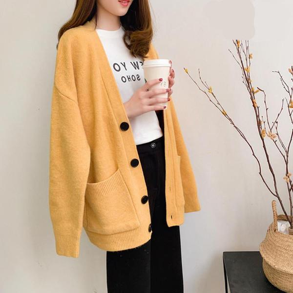 Señoras de la manera Suéteres Otoño 2019 Tamaño ocasional más color sólido Cardigan suéter de las mujeres elegantes de la manera de bolsillo de abrigo Y191025