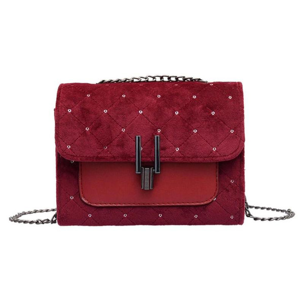 Punto de terciopelo mensajero del hombro bolsos de las mujeres de moda pequeña cadena clásico Cruzado Bolsas para chicas adolescentes