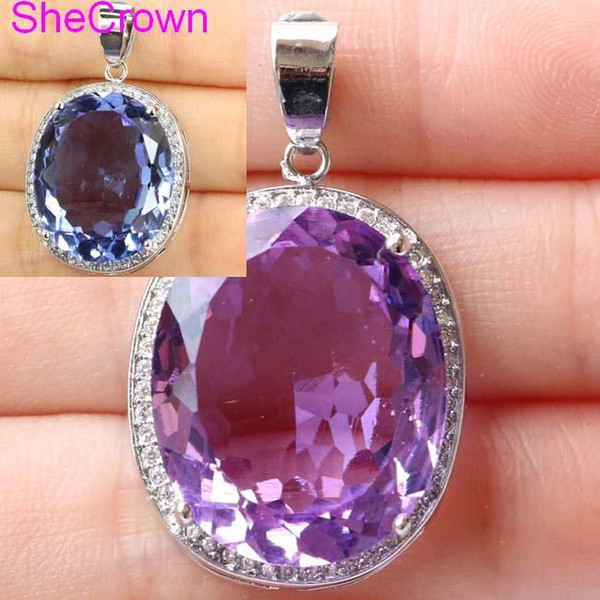 Deluxe Top Big Oval Gemstone Color Changing Alexandrite & Topaz Cz 925 Silver Pendant 25x20mm J190705