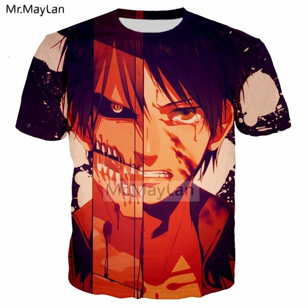Harajuku Anime Attack on Titan Eren 3D Print T shirt Men/women Summer Punk T-shirt Boys Hipster Cool Tshirts Man Casual Clothes