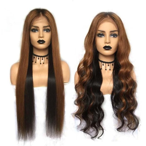 Body Wave Lace Front Human Hair Wigs Pre-plucked Ombre Full Lace Wigs Silk Straight Remy Hair Lace Wigs 1b #33 Highlight