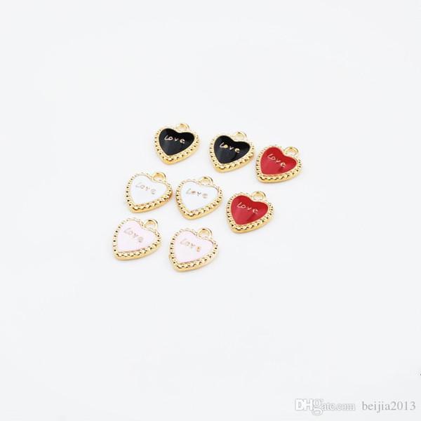 Il pendente della lega di fascini dell'olio di goccia dell'amante di figura del cuore di modo misura per i risultati degli accessori dei monili di modo del braccialetto DIY 40pcs / lot all'ingrosso