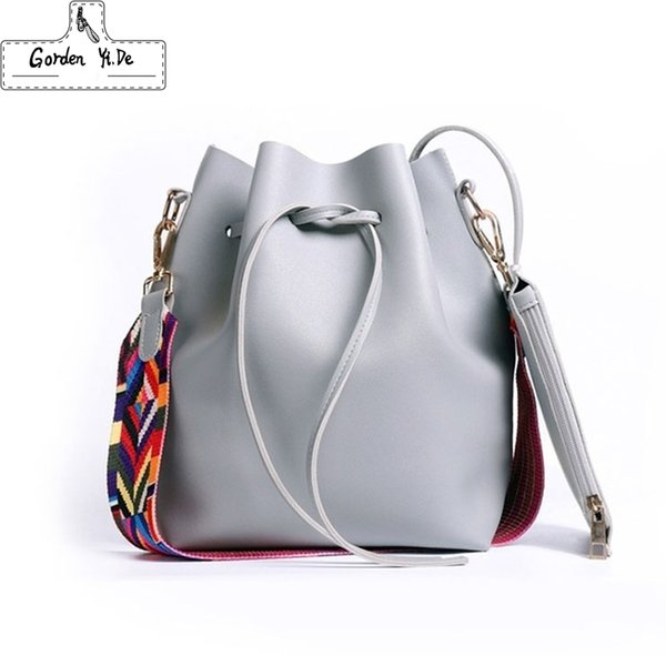 2019 New Fashion Colorful Strap Bucket Bag Women High Quality Pu Leather Shoulder Bag Brand Desinger Ladies Crossbody Bags J190615