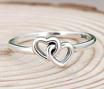 925 sterling silver double hearts ring