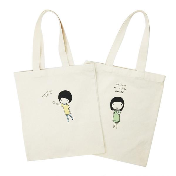 Cartoon Print Canvas Female Shopping Bag Fashion Foldable Girls Shoulder Bags Reusable Eco Shopper Tote Pocket For Women