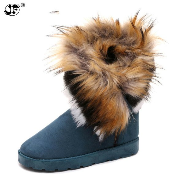 Suede Women Snow Boots Sewing Slip-On Mid Calf Winter Boots Female Faux Fur Warm Flat Shoes Tassels Edging Footwear 866