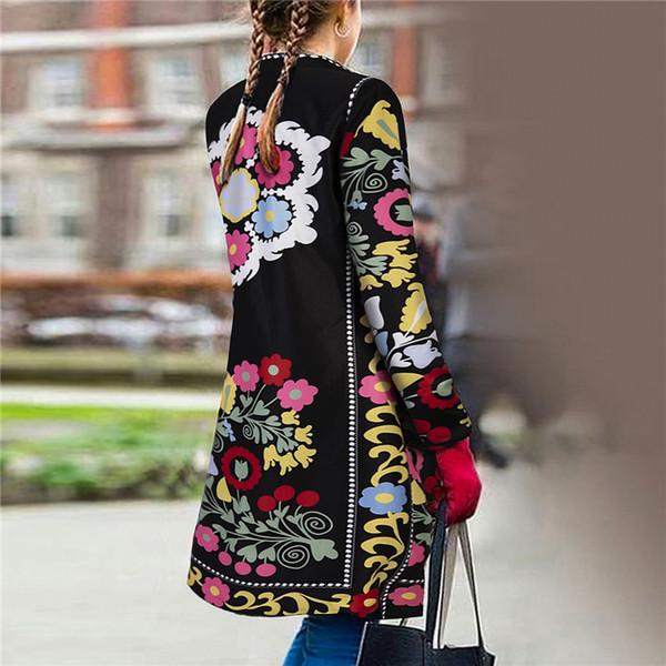 Jacket Outono da Mulher e revestimento das mulheres de Inverno Retro Nacional Estilo Moda slim bordados Imprimir manga comprida Cardigan L