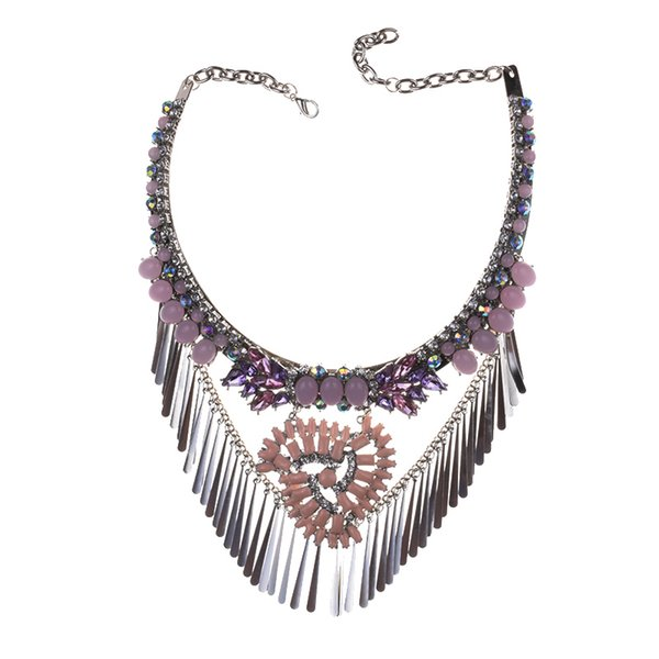 wholesale New Design Acrylic Beads Statement Necklaces & Pendants Fashion Metal Tassel Maxi Collar Necklace for Women Girl