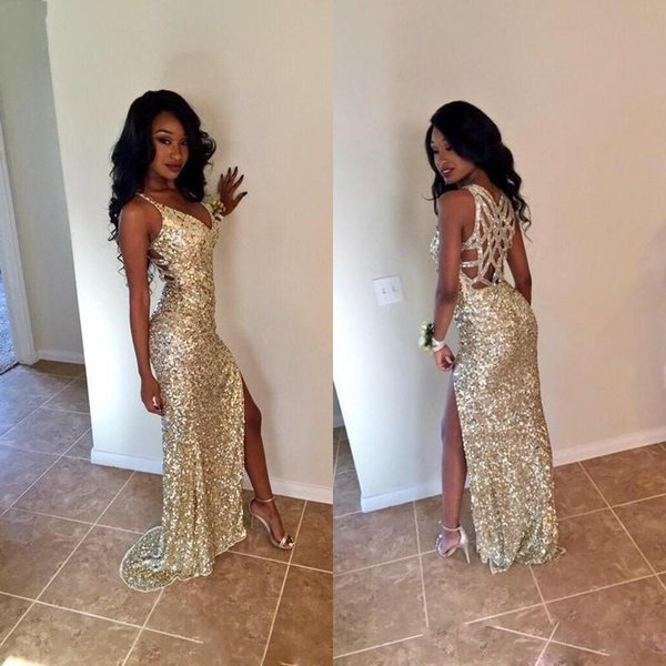 2019 Gold Sequins Long Prom Dresses Sexy Thigh High Slits Magnetic Halter Vestidos De Fiesta Hollow Back Mermaid Prom Gowns