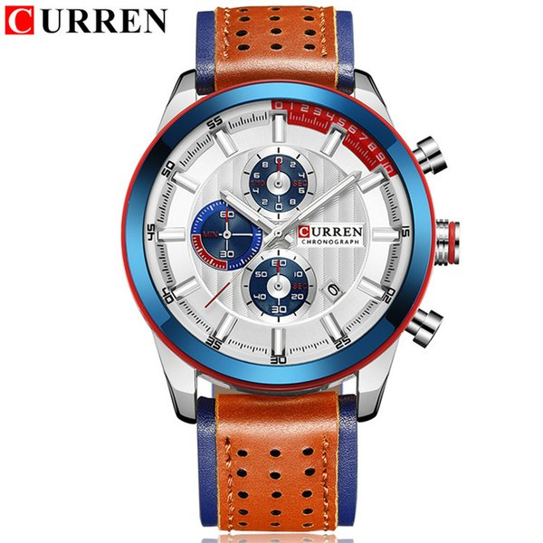 CURREN 8292 мужские большие наручные часы, три глаза, шесть игл, хронометраж, многофункциональные спортивные часы, модный деловой ремень, водонепроницаемые кварцевые часы