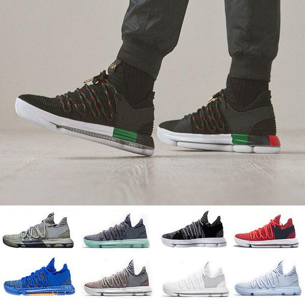 2019 New Zoom KD 10 Anniversary PE BHM Oreo triple black Men Basketball Shoe KD 10 Elite Low Kevin Durant Athletic Sport Sneakers