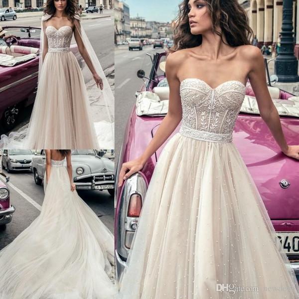 2019 Julie Vino Volle Perlen Brautkleider mit rückenfreiem Wrap Vestido De Novia Lace Corsage Brautkleider