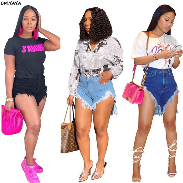 2019 new women summer hole hem irregular high waist boot cut above knee jeans shorts fashion short denim pants trousers SJ3269