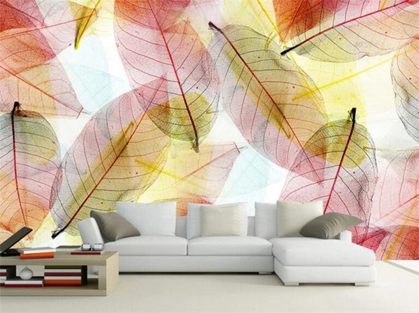 Fashion Interior Design 3D Stereo Transparent Leaves Photo Mural Dining Room Home Decor Wallpaper Modern Creative Wall Painting