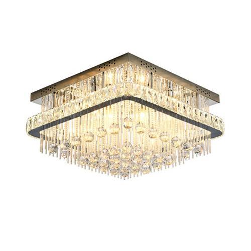 Lujo moderno llevó arañas de techo de cristal de clase alta K9 lámparas de techo de cristal luces de araña de techo cuadrado para sala de estar dormitorio