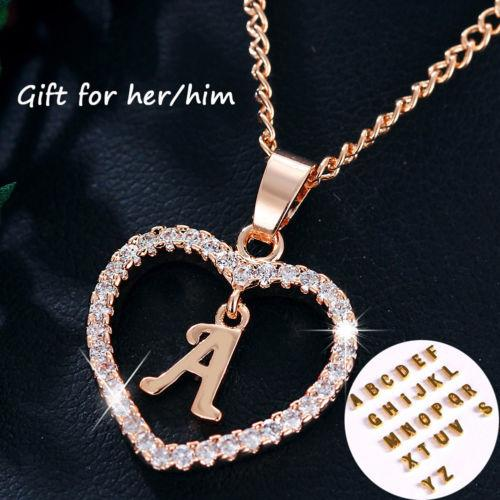 24462c382 Women Rose Gold Silver Love Heart A to Z Letter Alphabet Charm Pendant  Choker Necklace