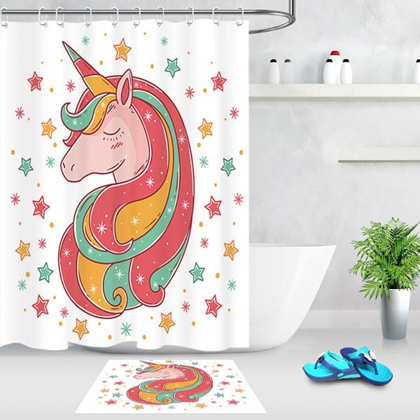 Colorido Estrella Rosa Verde Amarillo Lindo Unicornio Cortina de Ducha Cortina de baño Tejido de poliéster impermeable para bañera Decoración para el hogar