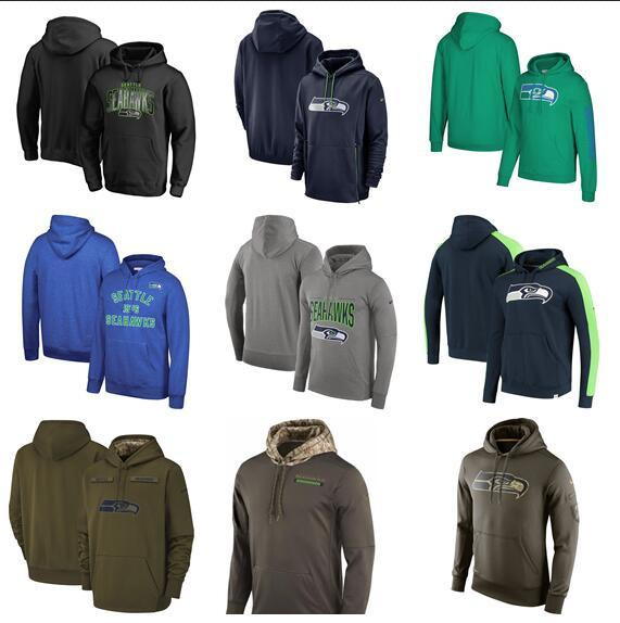 2019 Seattle Men Hot Seahawks Salute auf Service Side Therma Sideline Property of Performance PulloverHoodie - Olive Bule Gier Bl