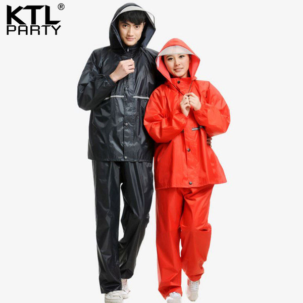 KTLPARTY Men Oxford cloth bicycle/motorcycle/electrombile rainwear and rain-proof pants suit male waterproof raincoats
