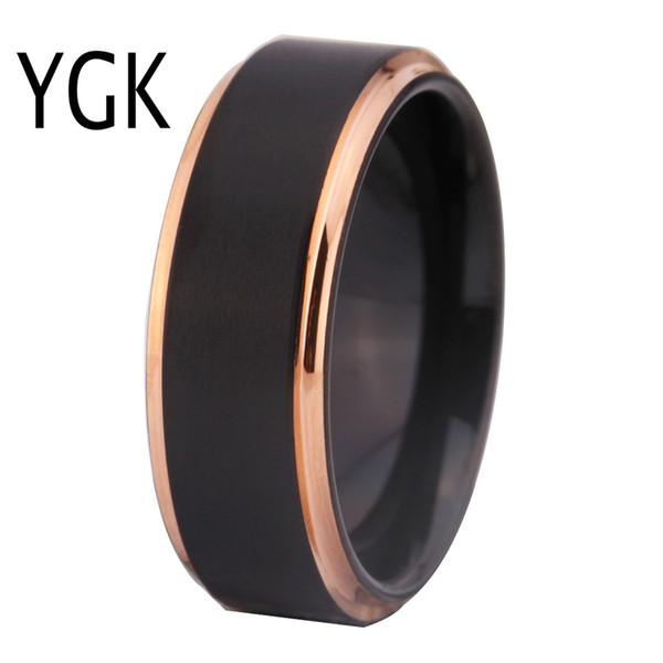 Anillos de boda de tungsteno para mujeres hombres anillos de compromiso clásicos negro mate con oro rosa Paso anillo de tungsteno Comfort Fit diseño J190625