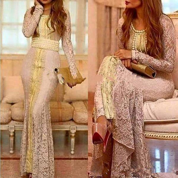 Moroccan Caftan Full Lace Long Sleeve Evening Formal Dresses 2019 custom Make Gold Embroidery Kaftan Dubai Abaya Arabic Occasion Prom Gown