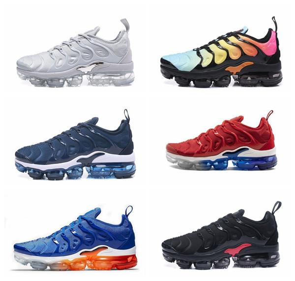 2018 TN Plus Men Running Shoes Triple Negro Blanco Foto de Sunset Blue Wolf Gray EE. UU. Diseñador de moda de lujo para hombre mujer diseñador sandalias zapatos