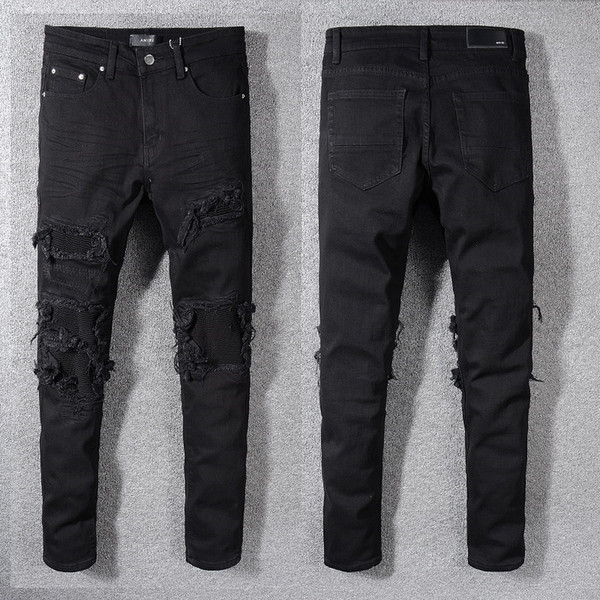 Nuevos hombres negros Jeans desgastados de motociclista rasgados Slim Fit Motociclista de mezclilla para hombres Diseñador de moda Hip Hop Mens Hole Jeans