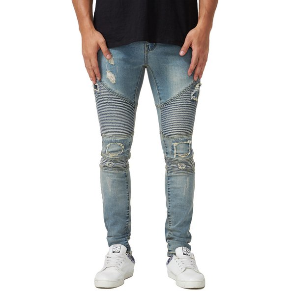 Biker Mens Jeans Hole Pencil Motorcycle Cool New Summer Fashion Style Slim Fit Casual Urban Wind Pants