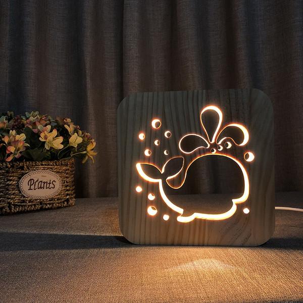 Nuova lampada da notte in legno di balena Luci notturne a LED 3D per la decorazione della camera da letto dei bambini Regalo della festa di compleanno della luce bianca calda unica