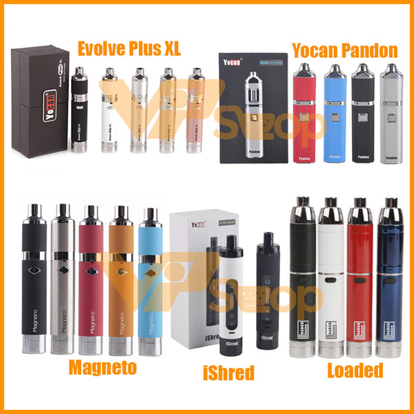 100% originale Yocan Loaded Evolve Plus XL iShred Magneto Pandon Torcia Dry Wax Wax Vaporizzatore Kit 1100/1300 / 2600mAh Batteria Vape Pen