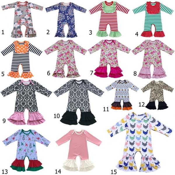 Baby Girls Bull Pajamas Icing Ruffled Romper Baby Girls Thanksgiving Leg Romper Ruffle Pants Ruffled Christmas Night Gown J190525