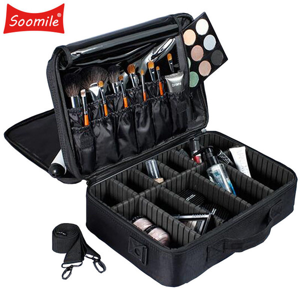 Soomile Brand Professional Makeup Bag Cosmetic Casesbolso Mujer Travel Large Capacity Women Make Up Organizer Storage Suitcases Y19052501