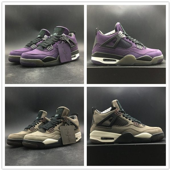 2019 Travis Scotti Basketball Shoes 4s Upper Suede Purple Brown Fashion Designer Sneakers Houston Oilers Mens Athletic Sports Shoes