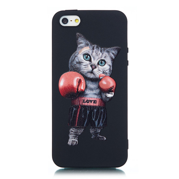 For iPhone 5S Case Black Soft TPU Matte Painting Owl Feather formula Color dog Boxing Cat Cover For iPhone SE