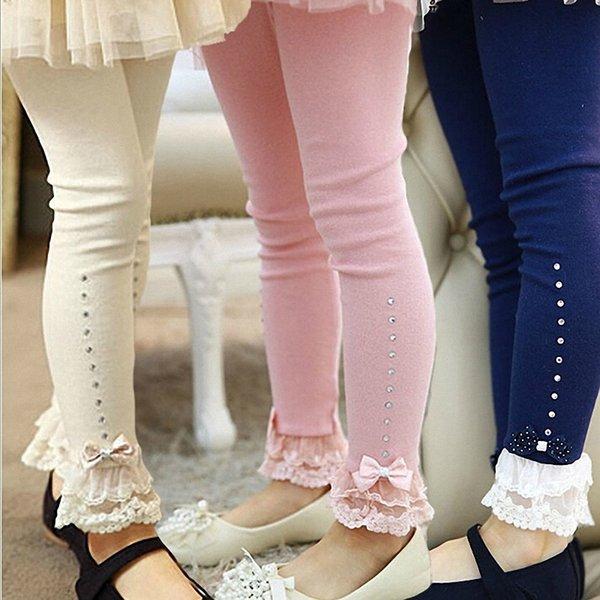 Venta al por menor 3t a 11t Niños Niñas Primavera Otoño Rosa Azul Beige Encaje Adorno Volantes Rhinestone Leggings Niños Princesa Algodón Legging