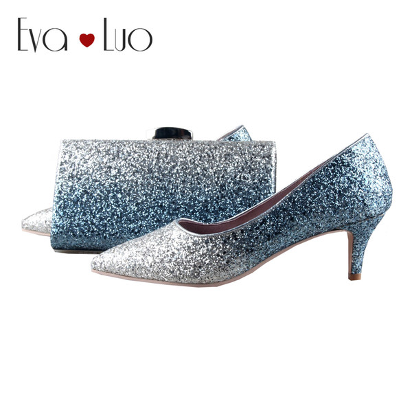 Bs1101 Custom Made Blue Silver Glittler Shoes With Matching Bag Women Shoes Dress Pumps Low Heel Bridal Wedding Designer Shoes High Heel Shoes From