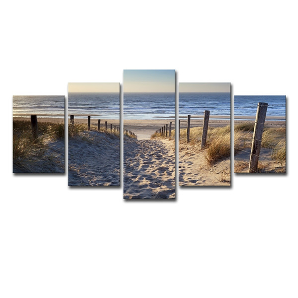 (Only Canvas No Frame) 5Pcs Romantic Sea Beach Seascape Wall Art HD Print Canvas Painting Fashion Hanging Pictures