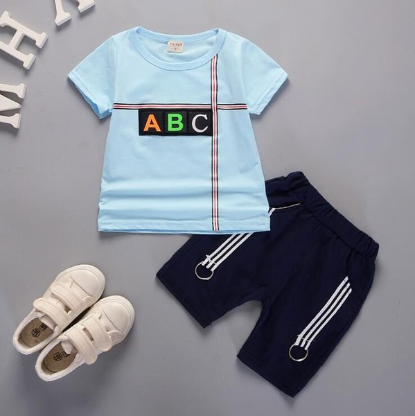 New Summer Leisure Edition of 2019 Two Kids Suit Tide with Cartoon Alphabet Short Sleeves and Short Sleeves for Babies Aged 1-4