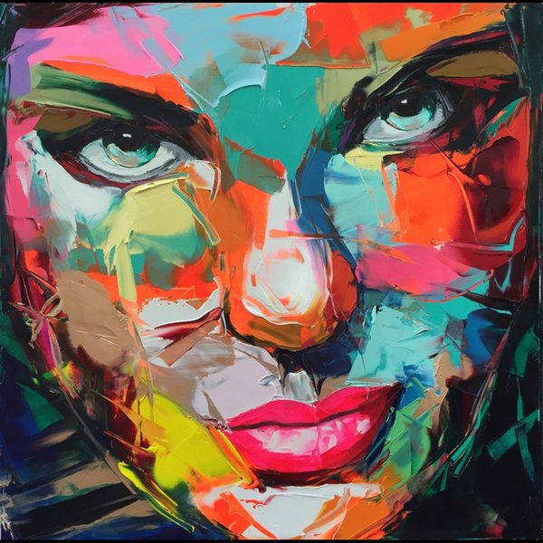 Francoise Nielly Palette Knife Impression Home Artworks Modern Portrait Handmade Oil Painting on Canvas Concave and Convex Texture Face205