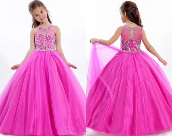 Robe rose vif perlée Pageant pour petites filles jupe longue Tulle enfants robe de soirée robe de bal anniversaire faite sur mesure