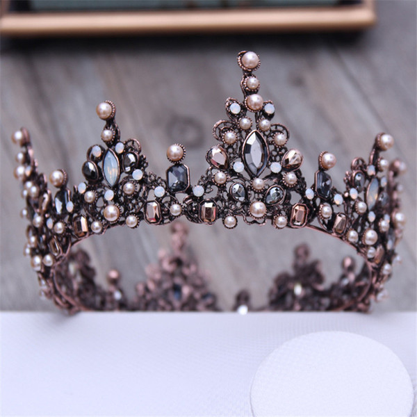 Vintage Crystal Black Round Baroque Tiaras and Crowns Headdress For Women or Men Bridal wedding Head Jewelry Accessories C18112001