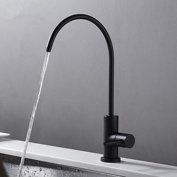 Edelstahl-Trinkhahn aus mattschwarzem Edelstahl RO Bleifreier Getränke-Wasserhahn-Trinkwasser-Filtrationssystem 1/4-Zoll-Rohr