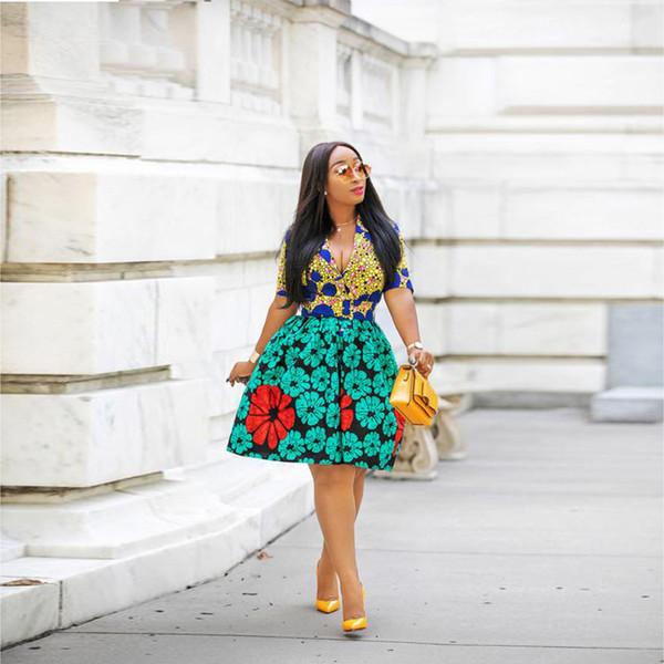 Compre áfrica Forma De Vestir De Dashiki Imprimir M 2xl De La Cintura Delgada Cuello En V Vestido De Manga Corta Impresa Kanga Vestir Ropa De Mujer