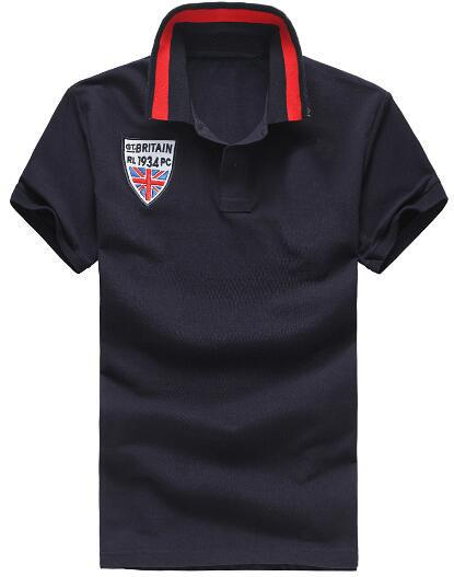Express Britain Fashion Men Solid Polo Shirts Big Horse Embroidery UK Flag Polos Striped Collar Sports Tee Shirt White Black