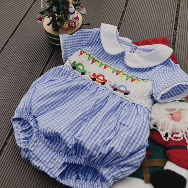 Baby Smocking Design Pagliaccetto Estate Dolce Neonate Ragazzi Unisex Ricamato Cotone Moda Estate Bianco Blu Plaid Tuta Y19050602