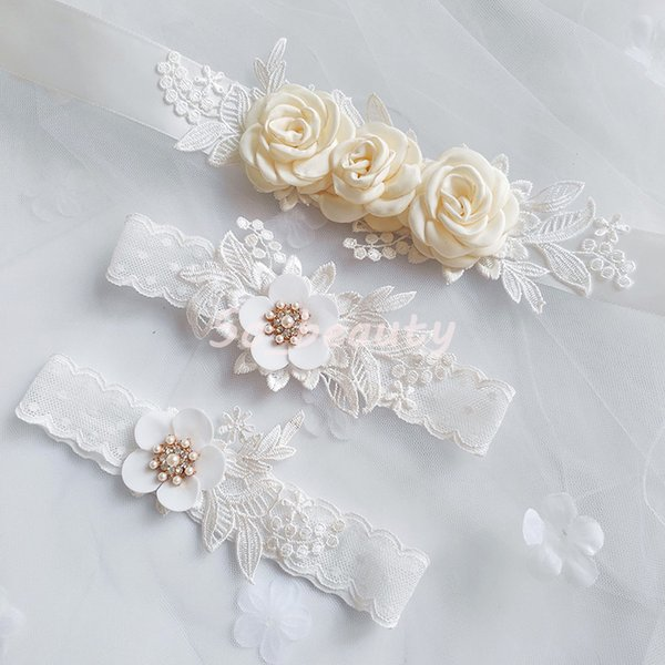 Bridal Sash Belt Lace Garter Set Ivory Floral Waistband Flower Bridesmaid Dress Sash Wedding Accessories Gown Ribbon SW205