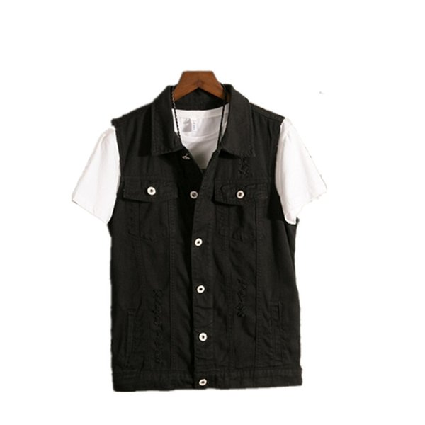 6XL 2019 Plus Size Denim Vest Mens Sleeveless Jackets Fashion Washed Jeans Waistcoat For Mens Tank Top Cowboy Male Ripped Jacket