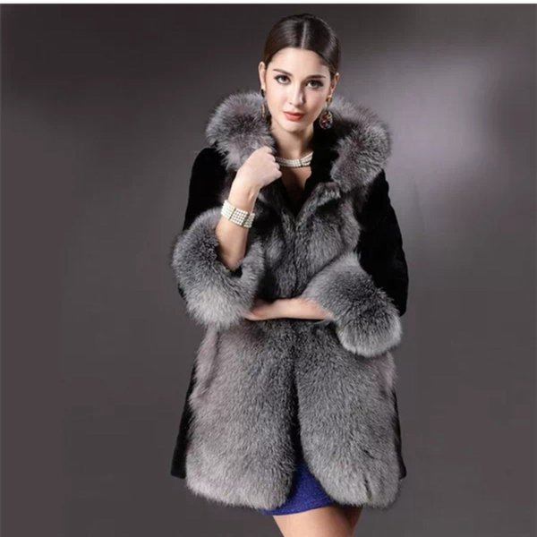 New 2018 Winter Plus Size Women Long-Fitting Faux Fur Coat With Hood Wide-waisted Ladies Casual Thick Warm Outwear