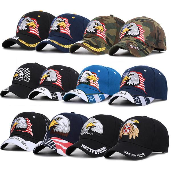 ABD bayrağı kartal Beyzbol Şapkası Mektup baskı Çörekler şapka Trucker Midilli kapaklar unisex Visor Cap Baba Amerikan Şapka yaz açık Snapbacks AAA2219