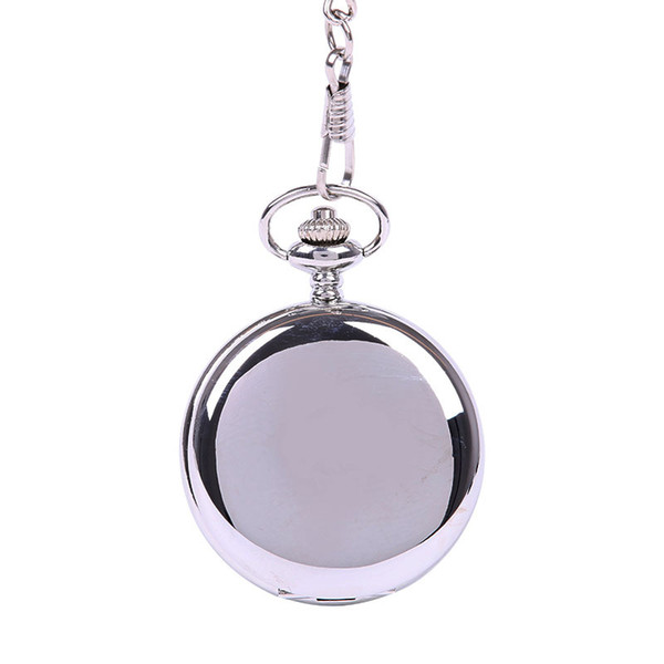 Retro Double Face Smooth silver Roman Numerals Mechanical Pocket Watch Pendant With Chain Quartz Unisex Best Gift
